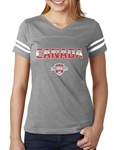 TeeStars - Canada National Soccer Team 2016 Fans Women Football Jersey T-Shirt Large gray/white (Canada Soccer compare prices)