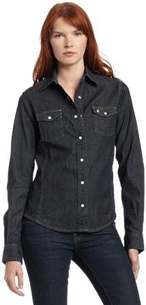 Carhartt Women's Denim Snap Front Shirt, Midnight Indigo, X-Small/Regular