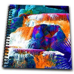 A waterfall with rocks in enhanced colors of blue, green, orange and pink - Drawing Book 8 X 8 Inch