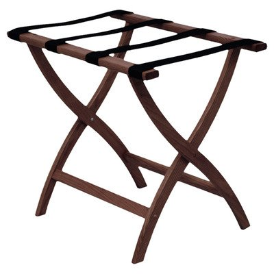 Wooden Mallet Designer Curve Leg Luggage Rack With Tapestry Medium Oak