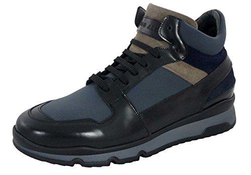 Ugo Arci - Sneakers a collo alto - Ugo Arci Uomo - 48C/636/85NP - 44, Nero-Piombo-Antilope-Blu