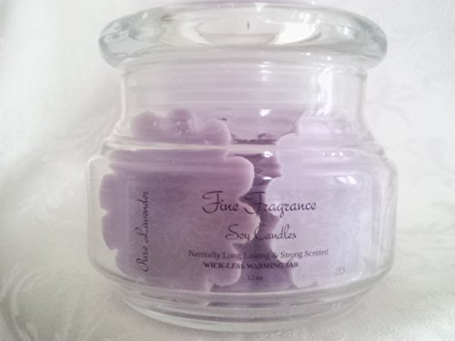 "Fine Fragrance Soy Candles - "" Pure Lavender"" 12Oz Wick-Less Wax Warming Jar"