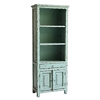 Casual Elements Santa Fe Bookcase, Rustic Heavy Distressed Island Blue