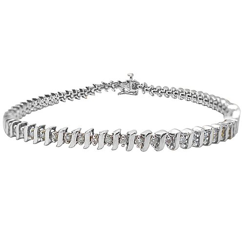 14k White Gold Diamond S-Link Tennis Bracelet (1 cttw, H-I Color, I1-I2 Clarity), 7.25''