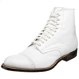Stacy Adams Men\'s Madison Cap-Toe Boot,White,11.5 D
