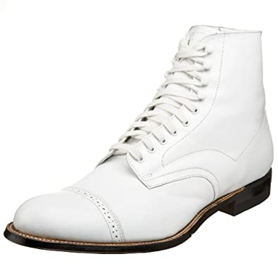 Stacy Adams Men's Madison Cap-Toe Boot,White,6.5 D