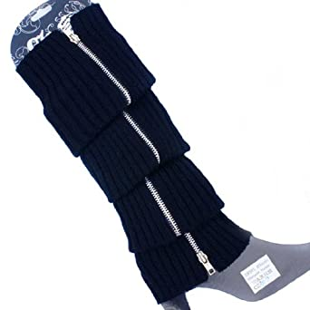 ECOSCO Leg Warmers Women's Cable Knit Metal Zip Boot Shaft Acrylic Leg Warmer