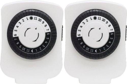 GE 24-Hour On/Off Plug-In Mechanical Timer with 1 Outlet, 2-pack