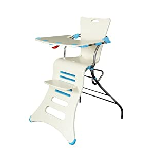 Mebby 96 cm K1 Natural Wood Highchair (Cream and Blue)