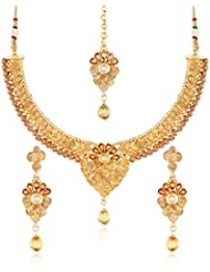 I Jewels 24K Gold Plated Traditional Jewellery Set With Maang Tikka For Women MS122