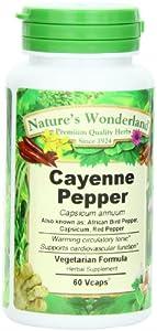 Nature's Wonderland Cayenne Pepper , Vegetarian Formula.675 mg, 60 Capsule Bottle