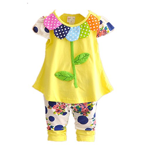FTSUCQ Girls Leaf Patterned Shirt with Middle Pants Two-pieces Sets,Yellow 110 (Cossack Pants compare prices)