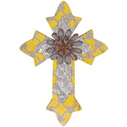 Small Yellow Urban Wall Cross, 12 Inches