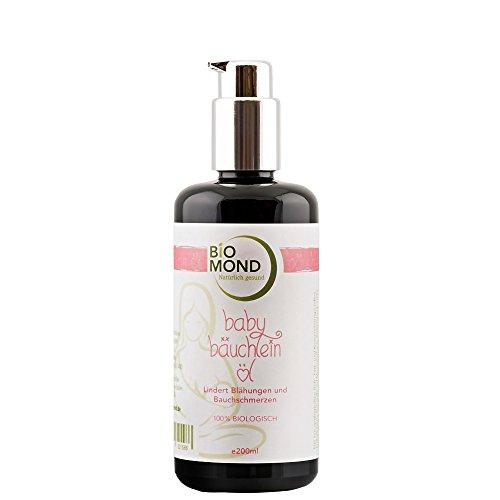 BIO Baby Bäuchlein Öl von BIOMOND / 200 ml / gegen Blähungen & 3 Monats-Koliken / ohne Zusatzstoffe / Vorteilsgröße / Babyöl / Massageöl / entspannt den zarten Babybauch / von Hebammen empfohlen / 100% biologisch