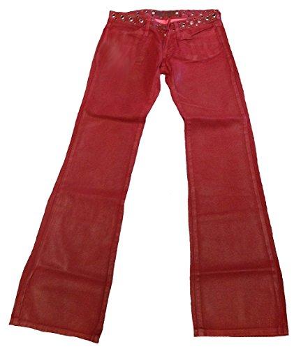 Jeans donna Fornarina pelle scamosciata e Pike rosso ciliegia borchie Rock Star effetto camoscio Designer da yoga da pantaloni Rosso rosso