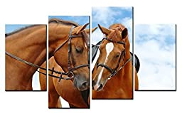 Canval prit painting Animal Wall Art Two Reddish Brown Horse with Heart-shaped White Hairs Close Together Murmur 4 Pieces Picture on Canvas