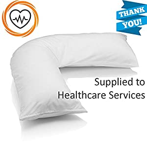 "•RohiLinen• NEW MEDICAL Living Orthopaedic V Shaped Support pillow ""Includes Complimentary Cream Pillow Case FREE"""