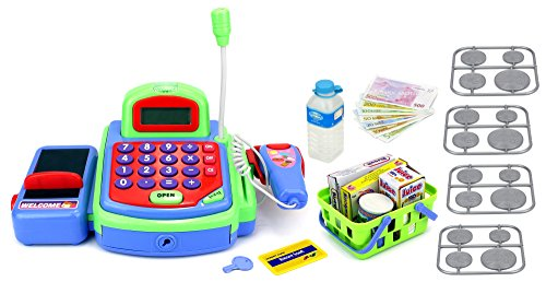Velocity Toys My First Cash Register Pretend Play Battery Operated Toy Register w/ Microphone, Scanning Action, Calculator, Money, Groceries (Kids Scanning Cash Register compare prices)