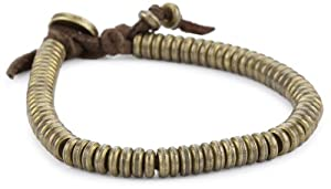 Ettika Men's Brass Flat Nugget Bead Brown Deerskin Leather Bracelet