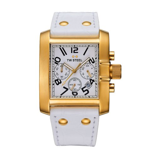 TW STEEL TW STEEL GOLIATH TW107 LADIES WHITE LEATHER STAINLESS STEEL CASE WATCH