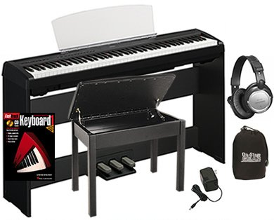 yamaha p95 digital piano bundle including bench stand triple pedal board headphones. Black Bedroom Furniture Sets. Home Design Ideas