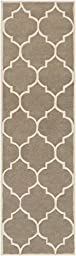 Beige Rug Contemporary Design 2-Foot 3-Inch x 10-Foot Hand-Made Wool Trellis Carpet