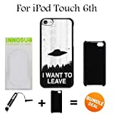 I Want to Leave UFO Custom iPod 6/6th Generation Cases-Black-Plastic,Bundle 2in1 Comes with Custom Case/Universal Stylus Pen by innosub