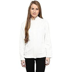 RARE White Solid Full Sleeve Women's Jacket