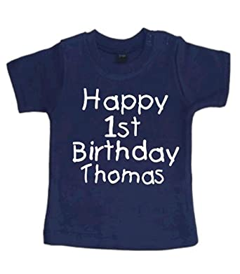 Childrens Navy t-shirt in 12-18 months 'Happy 1st birthday (YOUR CHOSEN NAME)'