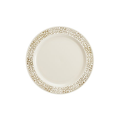 Lace Collection 40 Pack Premium China Like 7.5 Inch Like Real Plastic Plates (Includes 4 Packs of 10 Lace Plates Total 40 Plates) Wedding and Party ...  sc 1 st  Anna Linens : premium plastic dinnerware - pezcame.com