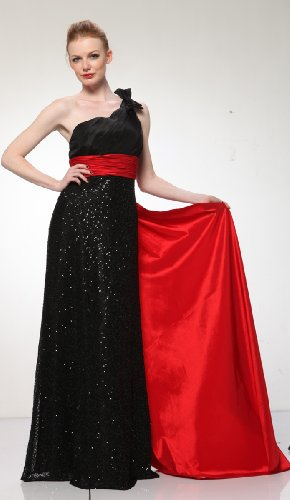 HK9180 ONE SHOULDER SHINING SEQUINCE FORMAL DRESS