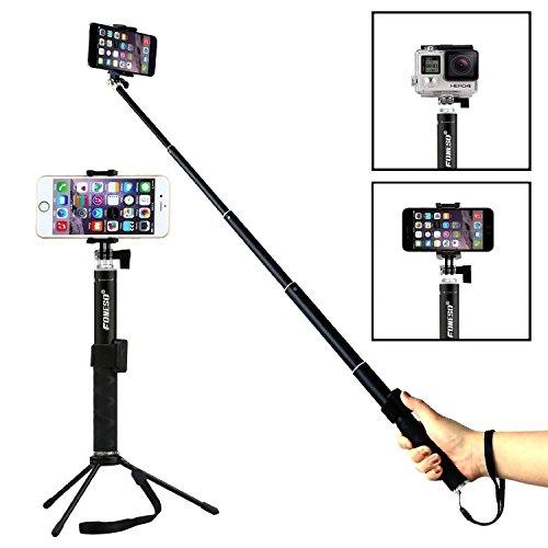 Foneso Selfie stick sans fil Bluetooth avec trépied Pour Caméra Gopro et Smartphones Noir