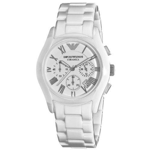 Emporio Armani AR1403 Gents White Ceramic Round White Dial Chronograph Watch