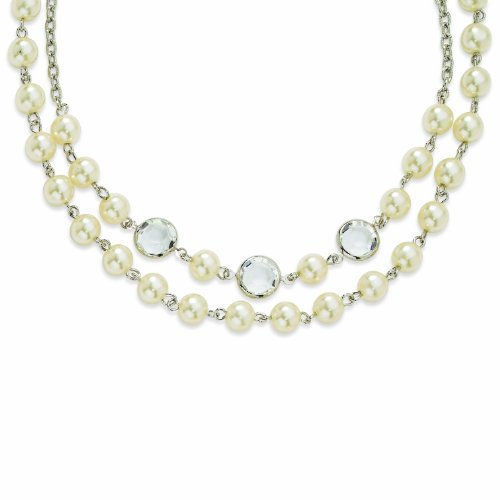 Silver-Tone Crystal Bezel/Cultura Glass Pearl 2-Strand 16w/Ext Necklace
