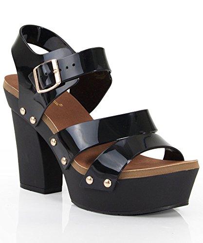 84b9cd47cf0 Nature Breeze Tegan Open Toe Strappy Jelly Platform Sandals - Import It All