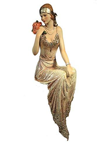 Casa Collection / Art for living by Jänig 11485 elegante Dame 20-er Jahre, Kantenhocker, Höhe circa 30 cm, creme / gold