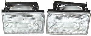 1988-1991 Ford Tempo & Mercury Topaz Headlight Headlamp Head Lamp Light Pair Set: Left Driver AND Right Passenger Side (1988 88 1989 89 1990 90 1991 91)