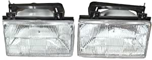 1988-1991 Ford Tempo & Mercury Topaz Headlight Headlamp Head Lamp Light Pair Set: Left Driver AND Right Passenger Side (1988 88 1989 89 1990 90 1991 91)
