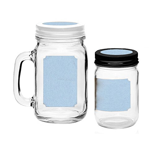 40 Printable Blank Mason Jar and Lid Labels, Baby Blue, for Inkjet and Laser Printers (Personalized Canning Labels compare prices)