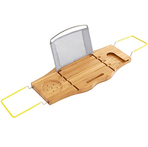 SONGMICS Bamboo Bathtub Caddy Tray Organizer with Adjustable Sides Rubber Grips Waterproof Cloth Book Holder UBCB22Y (Tub Rack Caddy compare prices)