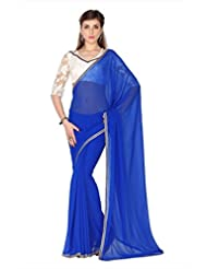 Designersareez Women Blue Faux Georgette Saree With Unstitched Blouse (1791)