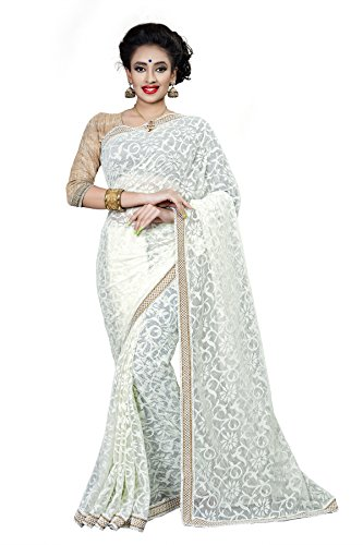 Vatsla Women's Brasso & Net Saree With Heavy Embroderied Blouse Piece and Border Work(White_Cream_Color)