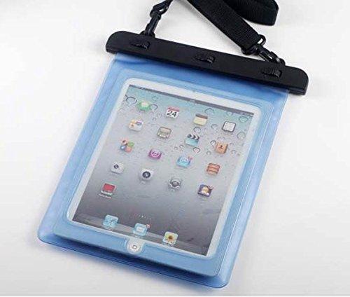 7-10 インチ タブレット用防水ケース 首掛け付き タッチペン セット ipad 2/3/4 Air1/2/ipad mini/ ARROWS Tab/dtab/ASUS/Xperia tablet/Galaxy note10.1 ブルー