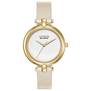 Citizen Women's EM0252-06A Silhouette Straps Analog Display Japanese Quartz White Watch