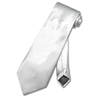 Antonio Ricci NeckTie Solid SILVER GREY Gray Men's Neck Tie