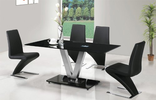 Corfu Black Glass Dining Table with 4 Designer 'Z' Chairs in Black Faux Leather
