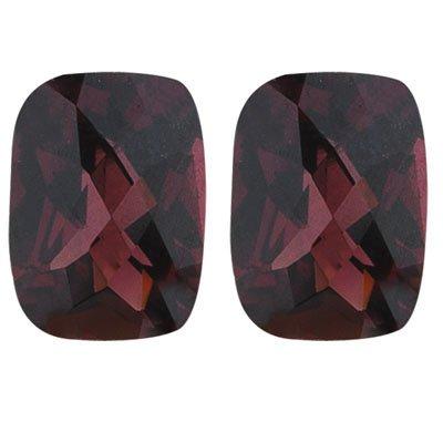 6.38 Cts of 10x8 mm Cushion Checker Board Matching Loose Garnet (2 pcs set) Gemstones