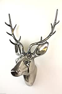 Aluminum Stags Head, Wall Mounted, Extra Large, Silver Finish