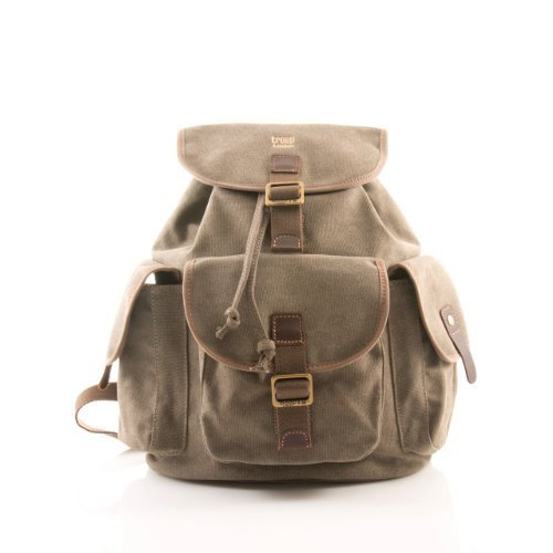 Large Brown Unisex Troop London Rucksack Backpack Bag leather trim 268BR