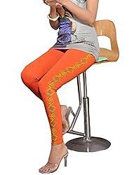 1 stop fashion Orange Cotton Lycra Leggings